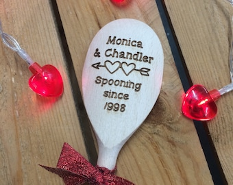 Personalised Wooden Spooning Spoon - Personalised Valentine Gift, Anniversary Gift, Spooning Since, Funny Valentine, Couples Present - SP3