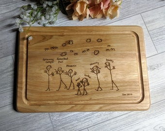 Child Artwork Engraved Chopping Board - Personalised gift - Children's drawings - engraved drawing - Grandparents gift - Fathers Day.