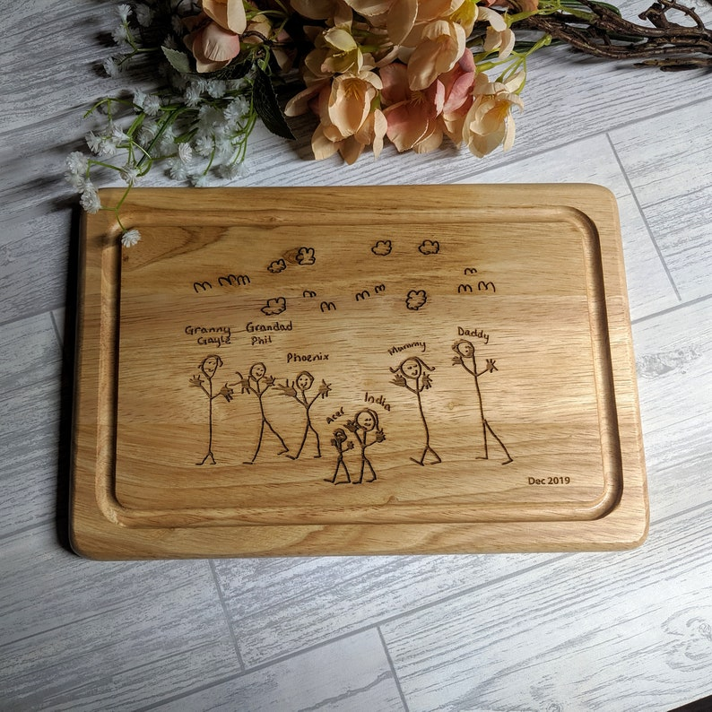 Child Artwork Engraved Chopping Board  Personalised gift  image 1