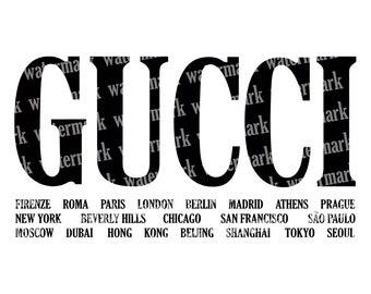 1dced78e6f9 Gucci svg Gucci Cities logo Fashion brand logo svg Gucci black Logo Vector  files Gucci logo PNG cut files for Cricut Instant download