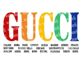 d818a455d55b Gucci Cities svg Gucci logo Fashion brand logo svg Gucci rainbow Logo  Vector files Bright color Gucci PNG cut files Cricut Instant download