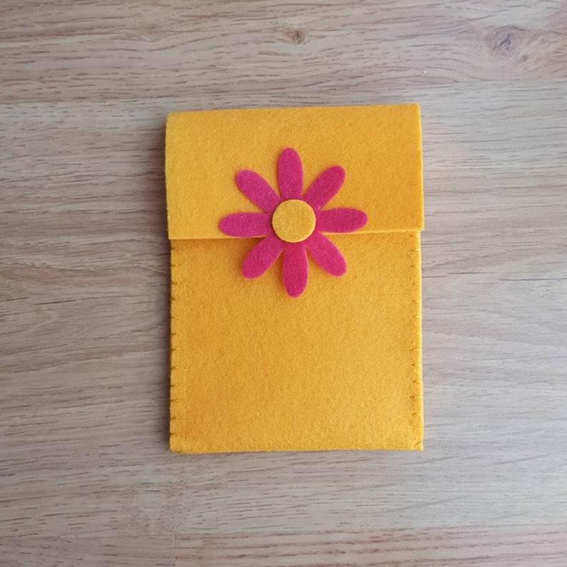 flower felt purse, yellow felt phone cover, envelope jewelry pouch, felt  purse organizer, makeup bag, earbud holder, card wallet, phone case