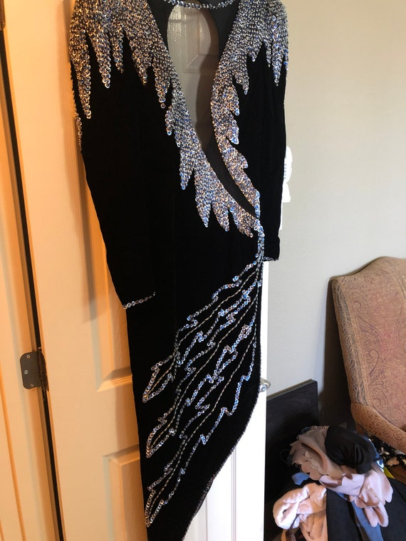 Black Velvet Sexy Evening Gown with beading