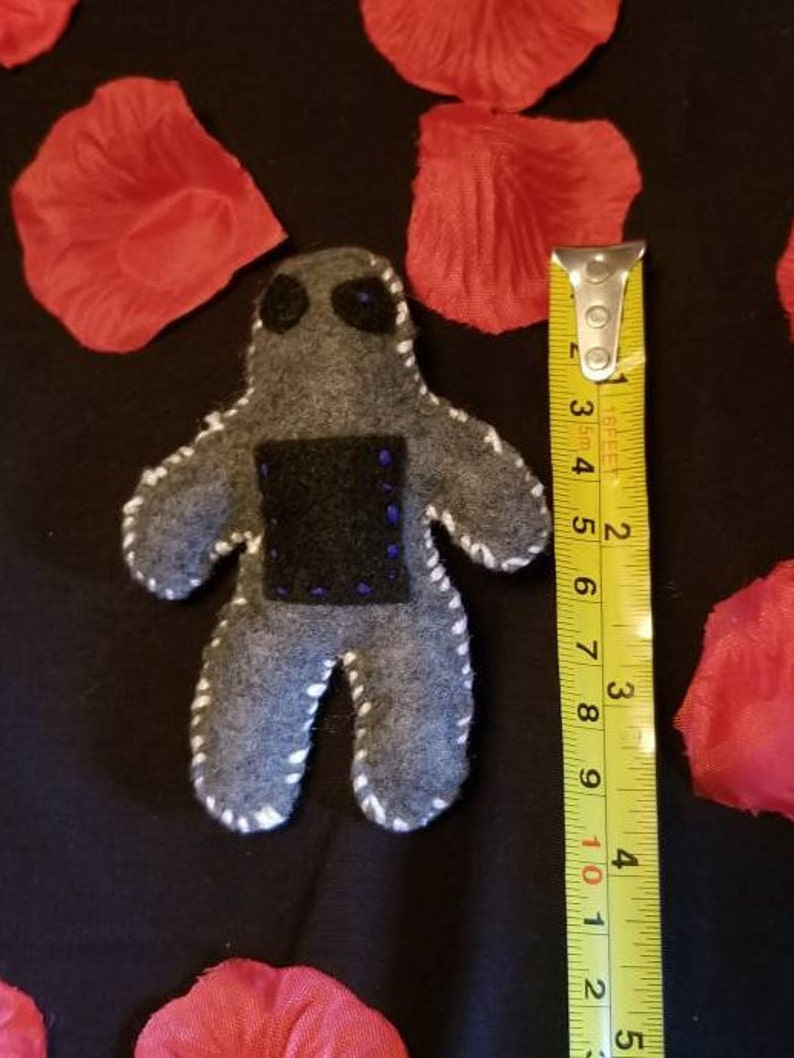 Wicca altar tool voodoo doll Chubby pocket poppet witch craft felt poppet hand sewn gray poppet with black pocket positive energy
