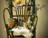 Wicker chair with flowers