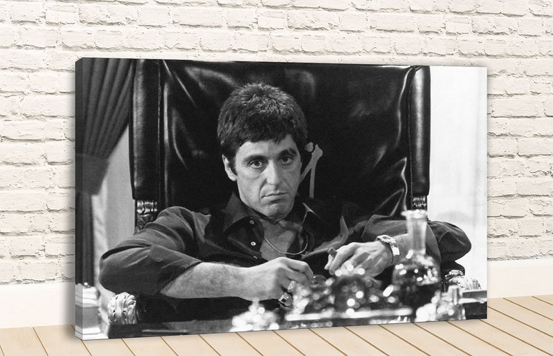 ICONIC FILM TONY MONTANA SCARFACE MOUNTED CANVAS PRINT WALL ART PICTURE PHOTO
