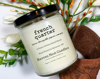 FRENCH QUARTER Mason Jar Candle, Soy Candles Handmade, floral candle, clean scented candle, Candle Gift Set, Mardi Gras