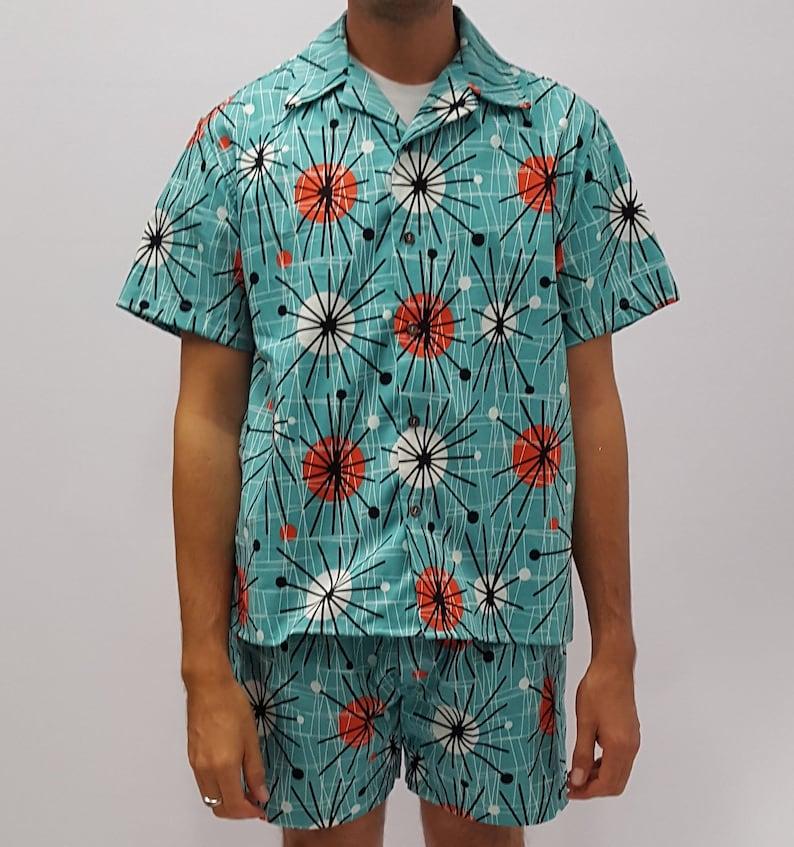 Vintage Men's Swimsuits – 1930s, 1940s, 1950s History Mid-Century Mod Atomic Tiki Cabana Set $115.00 AT vintagedancer.com