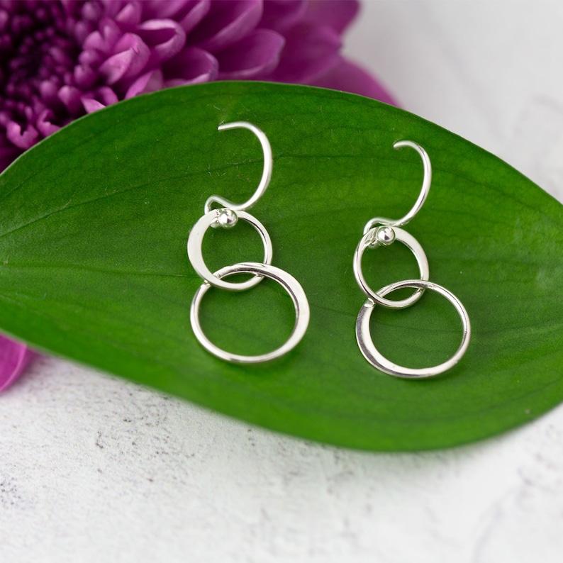 Sister Earrings Gift \u2022 Sister  Gift \u2022\u00a0Sterling Silver Dangle Circle Earrings \u2022\u00a0Sister Birthday \u2022\u00a0Long Distance Moving Away Gift