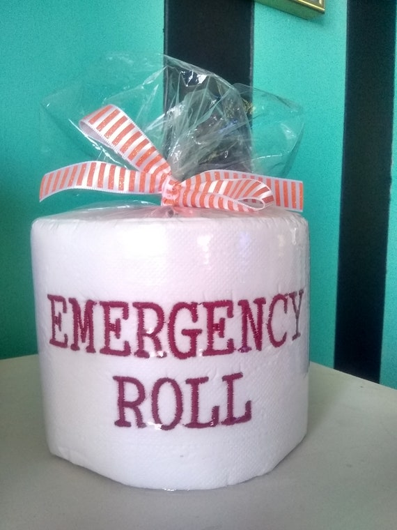 Emergency Roll toilet paper TP Embroidered Gift Fun Gag Last Minute 2020 Party present Baby 4 U best Friends honor roll crappiest gifts ever