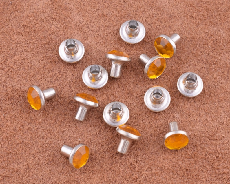 Rhinestone Rivets orange rivets studs,7*7mm Crystal Rhinestone Trim Rivets Diamante Studs DIY Crafts Clothing Bag Leather Decor
