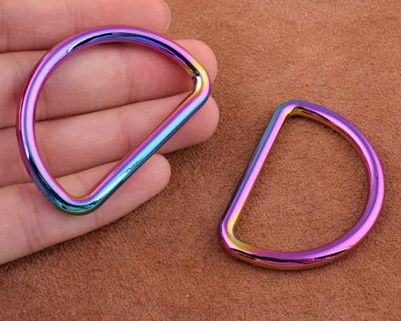 Rainbow D rings 6pcs 25mm40mm MetalAlloy D Ring\u00a0Belt Buckle Purse Loop Bag Clasp Leather Craft Accessories Webbing Hardware