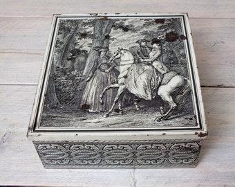 romantische Blechdose mit Pferden, silberne Schatztruhe, vintage Geschenk Prunkdose oder Deko