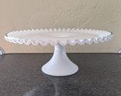 Stunning Vintage Fenton Silver Crest Milk Glass Cake Stand, Mid-century design