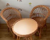 NATURAL wicker toddler set 2 chairs and table