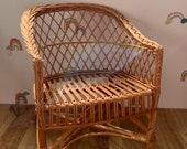 Wicker baby handmade kids chair NATURAL
