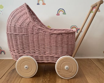 LIGHT PINK dolls pram with bedding included | free name tag| Handmade | organic wicker