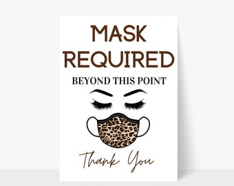 Printable Mask Required Beyond This Point Brown Sign / Mask Sign / Mask Required / Door Sign / Business Sign / Window Sign / Storefront Sign