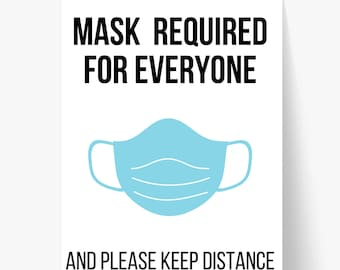 Printable Mask Sign/ Masked Required For Everyone/ Vaccinated Sign/ Mask Sign/ Mask Required/ Door Sign/ Business Sign/ Vaccine Sign/ Covid