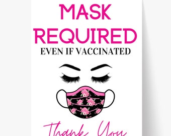 Printable Mask Sign/ Vaccinated Sign/ Mask Sign/ Mask Required/ Door Sign/ Business Sign/ Window Sign/ Store Sign/ Covid Sign/ Vaccine Sign