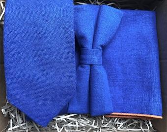 f6fe4c3eabc90 The Desert Bluebell Set: Royal Blue Linen Pre-Tied Tie, Bow Tie, Blue Men's  Ties, Pocket Square, Tie Set, Wedding Ties, Groomsmen Gifts