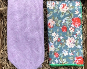 8a0e7c44b5db The Clover and Birdbill: Lavender Floral Necktie, Purple Ties For Men,  Wedding Ties, Floral Pocket Square, Groomsmen Gifts, Pastel Necktie