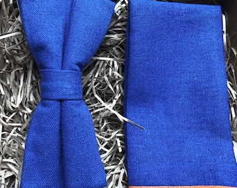 4a95fc263d9ae The Desert Bluebell Set: Royal Blue Linen Bow Tie, Royal Blue Pocket Square,  Tie Set, Wedding Ties, Groomsmen Gifts, Men's Gifts