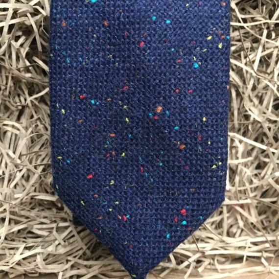 Wedding Ties Navy Blue Flecked Wool Mens Bow Tie and Pocket Square