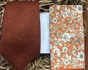 The Skyrocket and Marigold: Men's Tie Set, Burnt Orange Necktie & Pocket Square, Tie sets, Mens Gifts, Wedding Ties, Orange Ties,