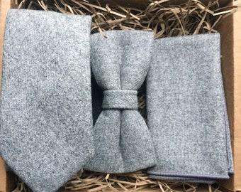 The Birch Set: Grey Wool Necktie, Grey Tie, Grey Bow Tie, Pre-Tied Bow Tie, Gifts For Men, Wool Pocket Square, Mens Tie Sets, Gray Ties