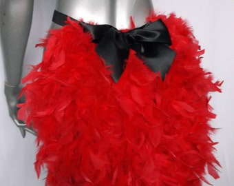 Feather bustle with bow. Burlesque showgirl. Red 0a97370f9