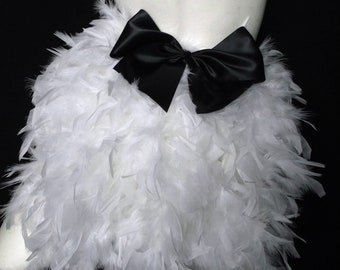 Feather bustle with bow. Burlesque showgirl. White 14493e631