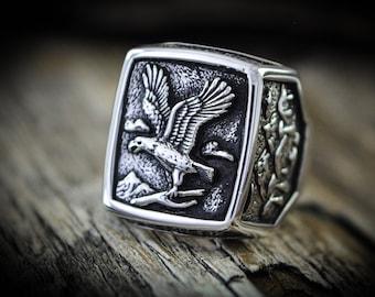 Custom Gemstone Rings Custom Birth Stone Rings Howling Wolf Ring Native American Ring Customizable Navajo inspired Ring USA