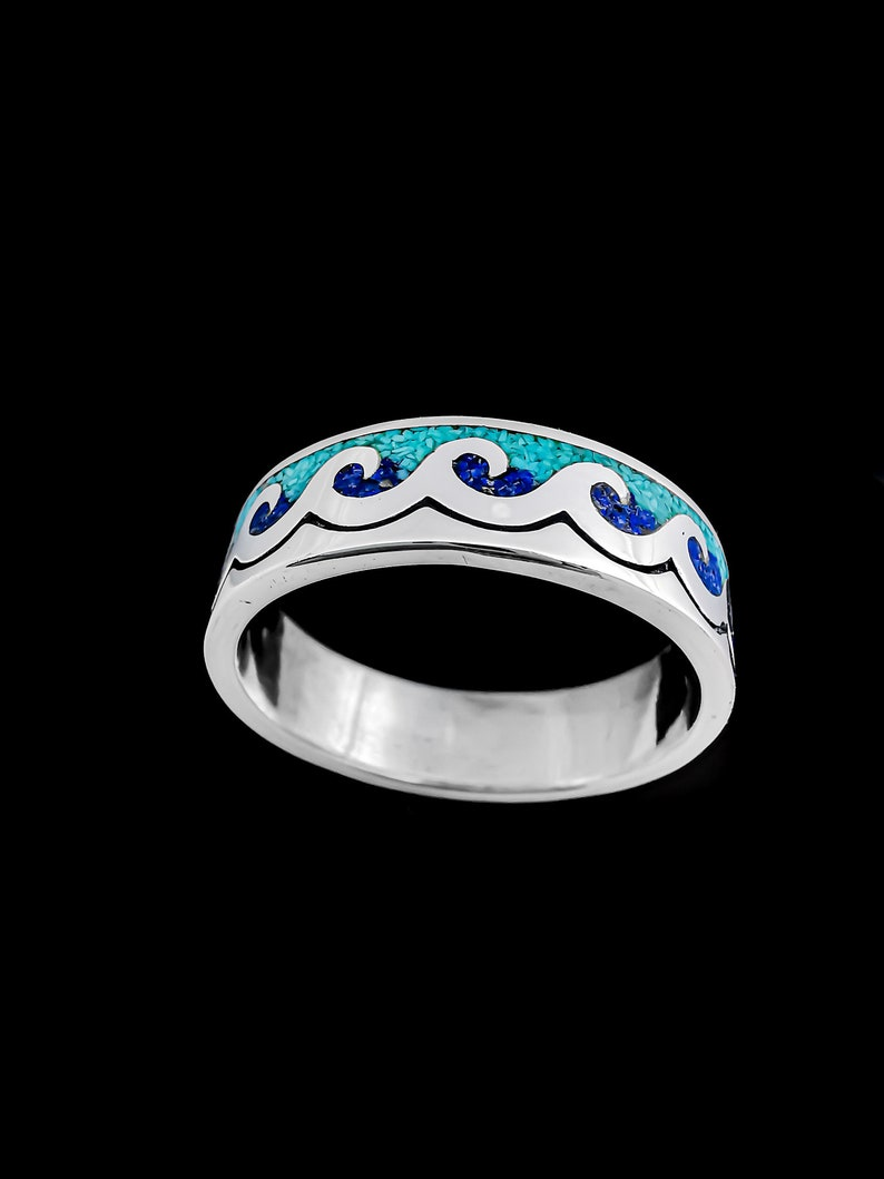 Customizable Ocean Ring Sea Ring 925 Sterling Silver Wave Riders Surfing Ring Birthstone Ring Multiple Stone Wave Ring