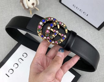 c170fa52c Gucci GG Crystal Buckle Leather Belt 3 sizes