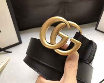 5439b3e2b gucci leather belt gg Golden Buckle 85-28/32 Unisex
