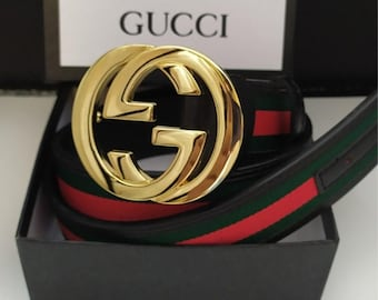ae20efef6 Men's Web Gucci Belt Double GG Buckle Green and Red Web Fits 100-44