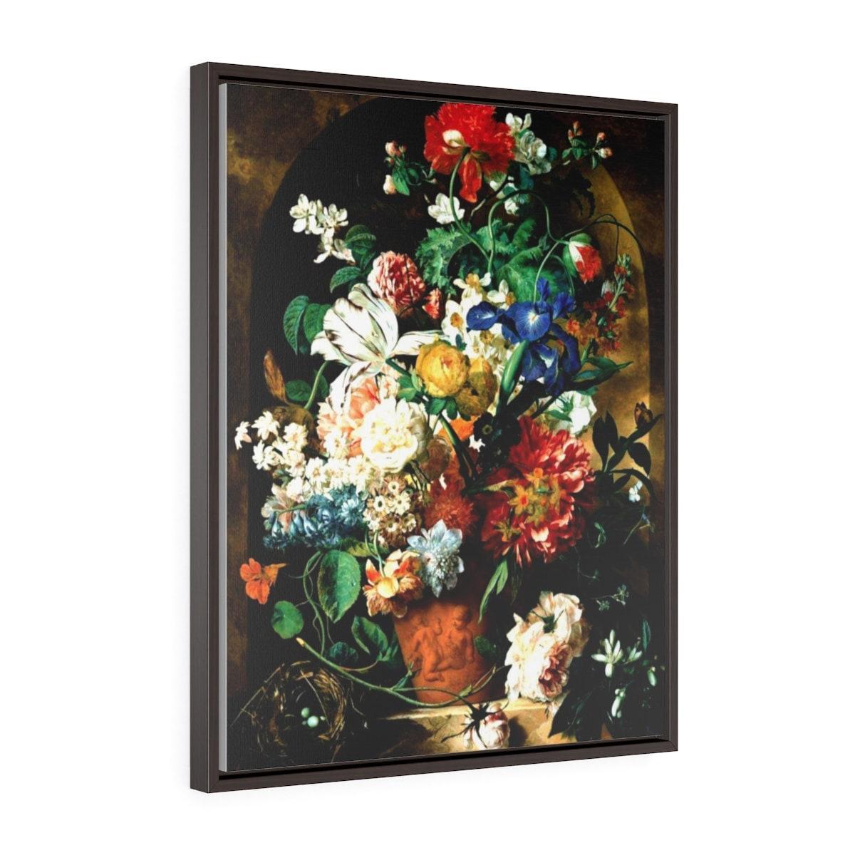 Floral Art Framed Wrap Canvas Flower Painting Print Dark Etsy