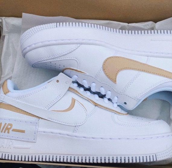 Beige Custom Nike Air Force 1 Shadow Cream Tan | Etsy