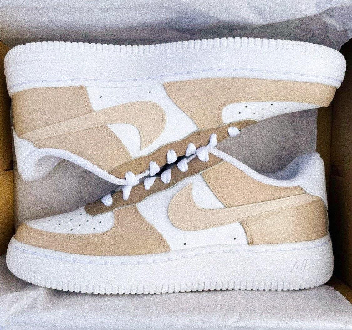 Custom Nike Air Force 1 Beige Tan Earth Neutral Colors