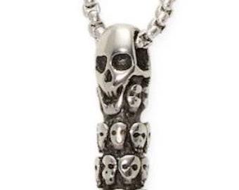 3fae9016a1de Acier inoxydable 316 balle en argent massif Collier pendentif incrusté de  têtes de mort sur 24 « acier chaîne en acier inoxydable