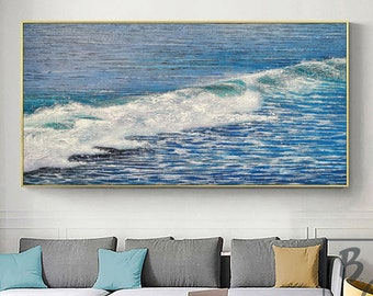 Blue Sea White waves,Handmade abstract painting,Large Abstract Textured Ocean painting,Large Sea Canvas Oil Painting,Beach Ocean sky scenery