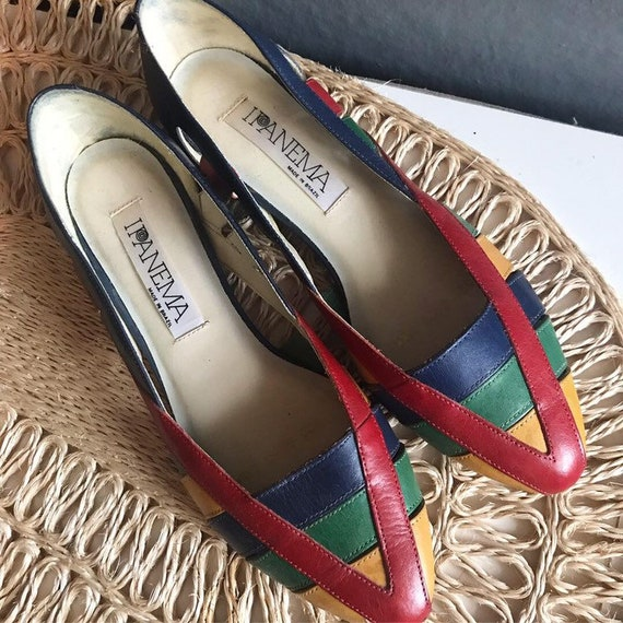 1980s Rainbow Leather Cut-out Flats