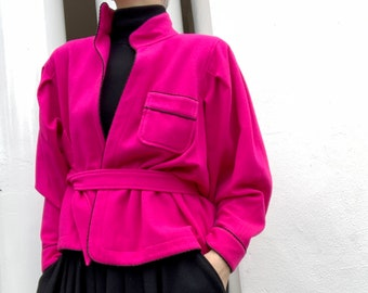 Pink Red Suede Jacket from Jean Muir Studio size UK10 US8 open relaxed front
