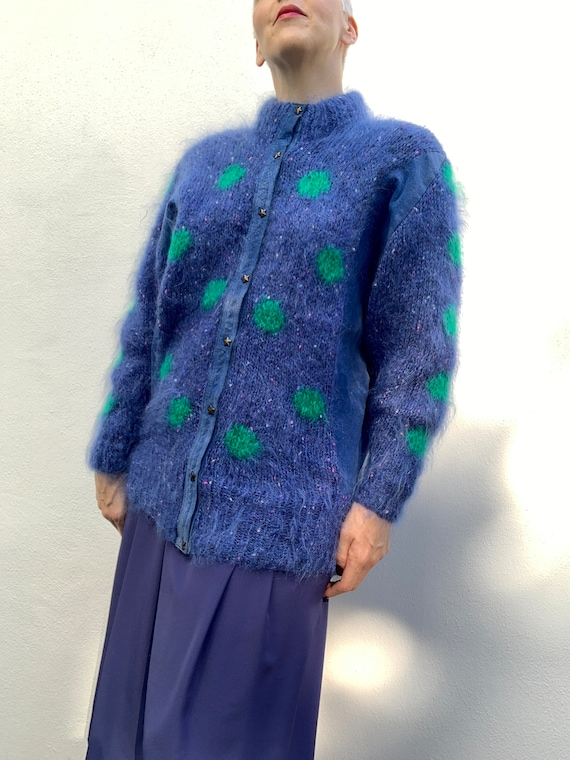 Vintage 80s mohair cardigan with blue suede panel… - image 2