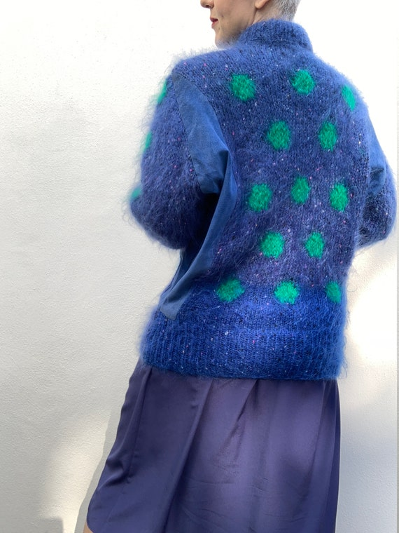 Vintage 80s mohair cardigan with blue suede panel… - image 8