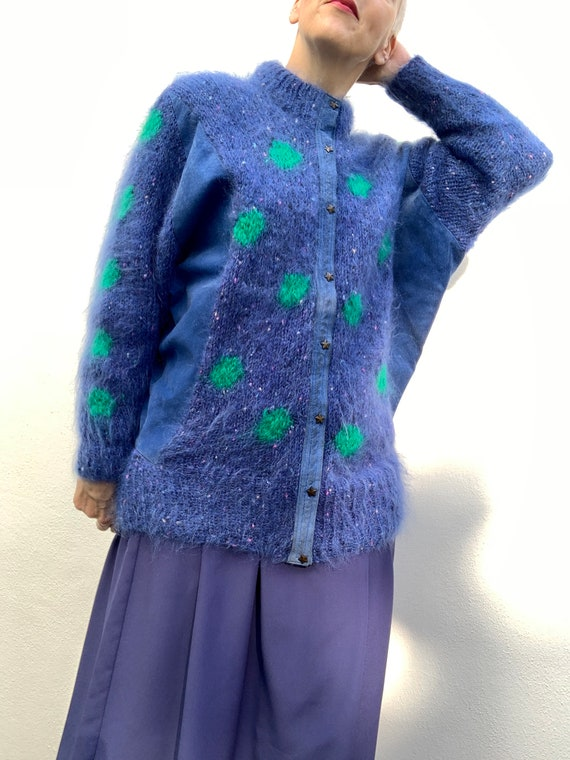Vintage 80s mohair cardigan with blue suede panel… - image 1