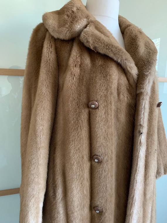 Vintage simulated fake fur coat by TISSAVEL