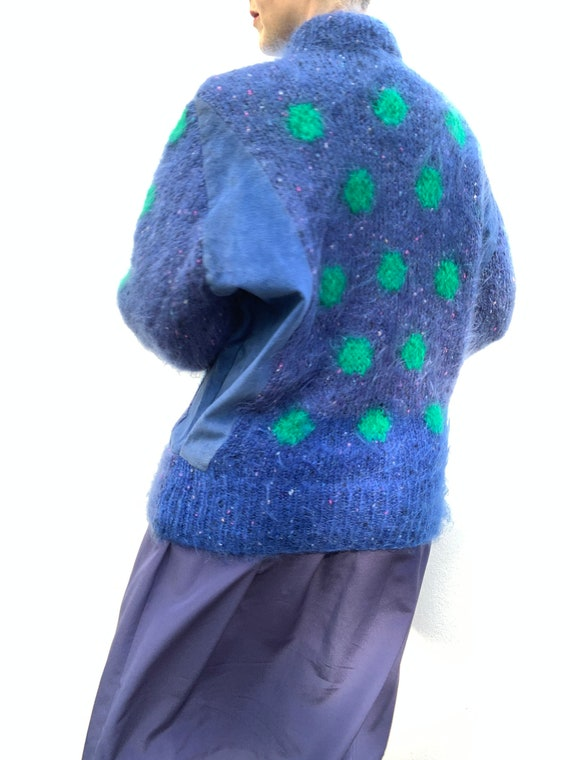 Vintage 80s mohair cardigan with blue suede panel… - image 10