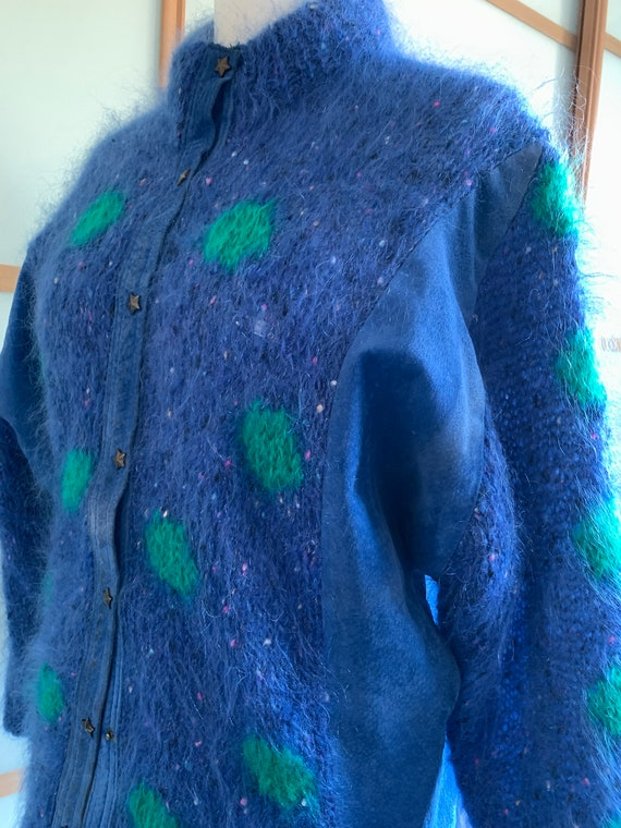Vintage 80s mohair cardigan with blue suede panel… - image 5